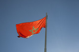 National flag of Morocco on a flagpole