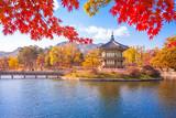 Gyeongbokgung palace with Maple leaves, Seoul, South Korea. - 151235300