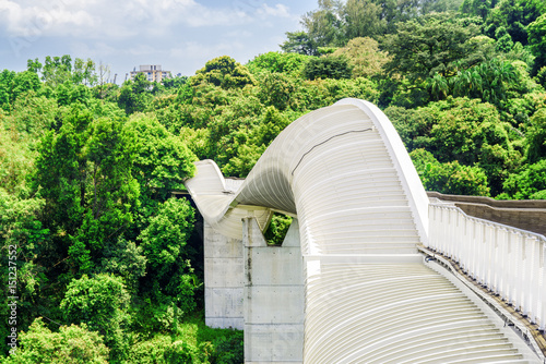 Scenic view of amazing bridge imitating a wave, Singapore Poster