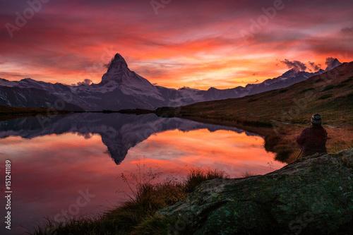 In de dag Bergen Sonnenuntergang über dem Matterhorn, Zermatt, Schweiz