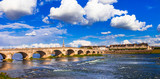 Landmarks of France - Historical Blois town, view with bridge. Loire valley river - 151244355