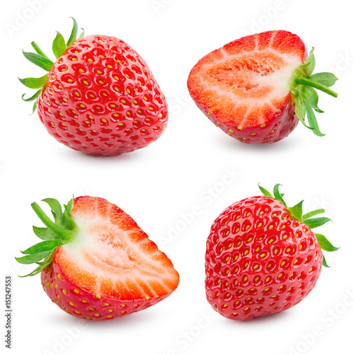 Strawberry. Fresh ripe berry isolated on white background. Collection. - 151247553