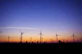 wind turbine sunset background ecosystem vintage