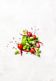 Food background, green basil and tomatoes with spices, top view - 151267732