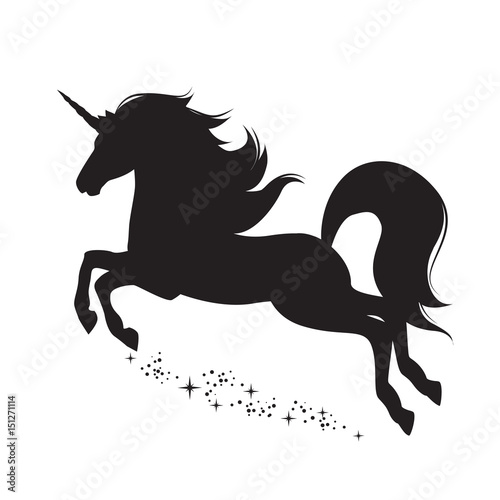 Silhouette of magical unicorn. Hand drawn, isolated on white background.