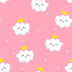 Seamless pattern with cute clouds princess and stars on pink background. Ornament for children's textiles and wrapping. Flat style. Vector. © yanabear