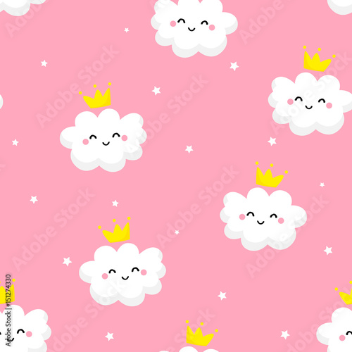 Fototapeta Seamless pattern with cute clouds princess and stars on pink background. Ornament for children's textiles and wrapping. Flat style. Vector.
