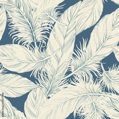 Cotton fabric Seamless feather background pattern