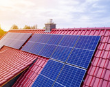 roof of a new house with solar modul or photovoltaic system  - 151314959