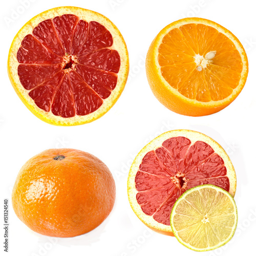 Poster a collage of tangerine, orange, grapefruit and lime on a white background