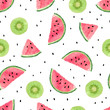 Seamless pattern with kiwi fruit and watermelon slices. Summer background. - 151339549