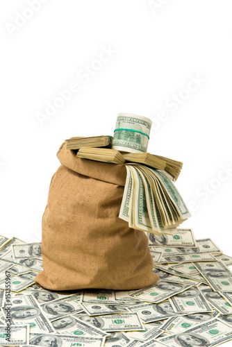 Poster Money in the bag isolated on a white background