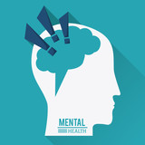mental health, human head with brain in shape of exclamation mark - vector illustration - 151367591