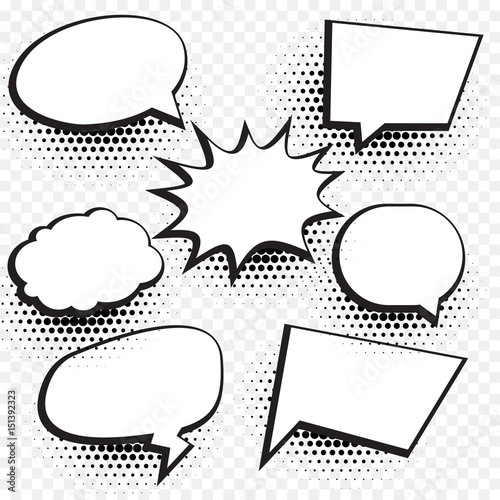 empty comic chat bubble and element background set with halftone effect - 151392323