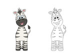 Illustration of a cute zebra, painted and contour