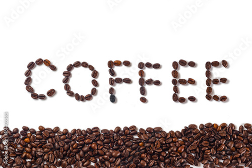 Fotobehang Koffiebonen coffee beans isolated on white background