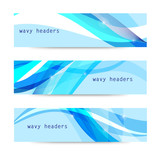 Vector set of abstract blue wavy headers