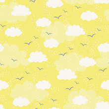 Seamless Pattern  Clouds And Birds Sticker