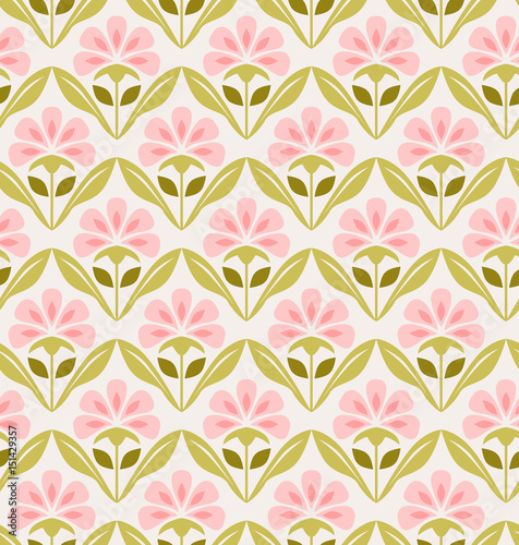 seamless retro pattern with flowers - 151429357