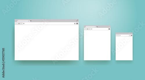 open internet browser window in a flat style design a simple blank