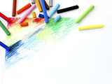 Oil pastels  crayons colorful art drawing on white paper background. - 151446328