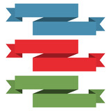 Three ribbon different colors with place for text