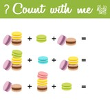 Counting Game for Preschool Children. Count the macaroons!