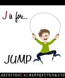 Illustrated vocabulary worksheet card J is for JUMP