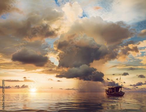 Keuken foto achterwand Schip beautiful sunset