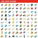 Fototapety 100 car icons set, isometric 3d style