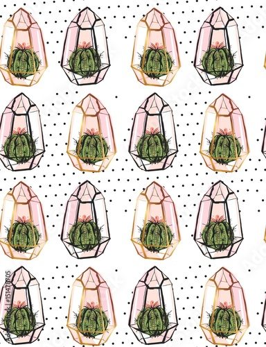 Plakat Hand drawn vector abstract seamless pattern with golden terrarium,polka dots texture and cacti plants in pastel colors isolated on white bakground.Design for decoration,fashion,fabric,wrapping paper
