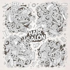 Vector cartoon set of doodle Hair salon designs