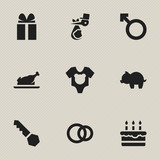 Set Of 9 Editable Relatives Icons. Includes Symbols Such As Child, Moneybox, Fried Chicken And More. Can Be Used For Web, Mobile, UI And Infographic Design.