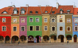 view of crooked medieval houses on the central market square in Poznan, PolandPoznan, Poland