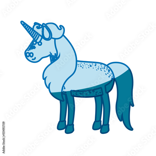 Poster Pony blue silhouette of male unicorn vector illustration