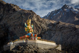 Colourful sculpture of giant Maitreya Buddha at Diskit monastery in Nubra valley in the Indian Himalaya. Diskit, Ladakh, India