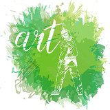 Graffiti guy makes street art on wall. - 151508373