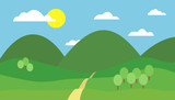 Cartoon colorful vector illustration of mountain landscape with hill, path and trees under blue sky with clouds and sun on a sunny day