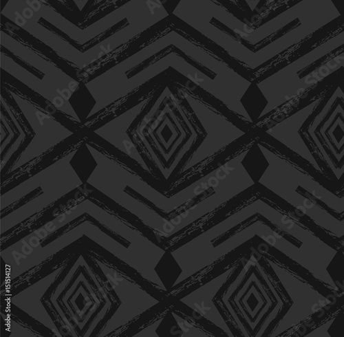 Black tribal Navajo vector seamless pattern with doodle elements. aztec abstract geometric art print. ethnic hipster backdrop. Wallpaper, cloth design, fabric, paper, textile. Hand drawn. - 151514127