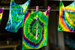 tie dye textile pattern on clothes line