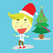 happy salary man and the Christmas party with the beautiful Christmas tree and blue background. vector. illustration.  - 151524914