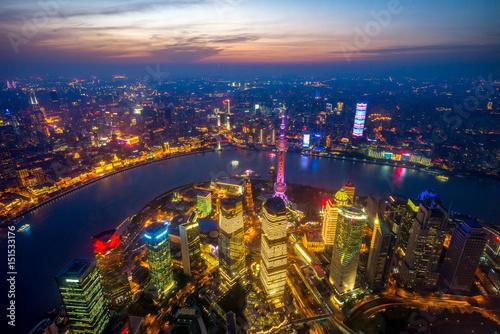 Aluminium Shanghai aerial view of shanghai at night