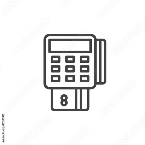 Pos terminal outline icon, line vector sign, linear style pictogram