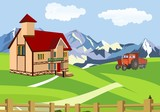 Countryside vector illustration,farm house on green hills