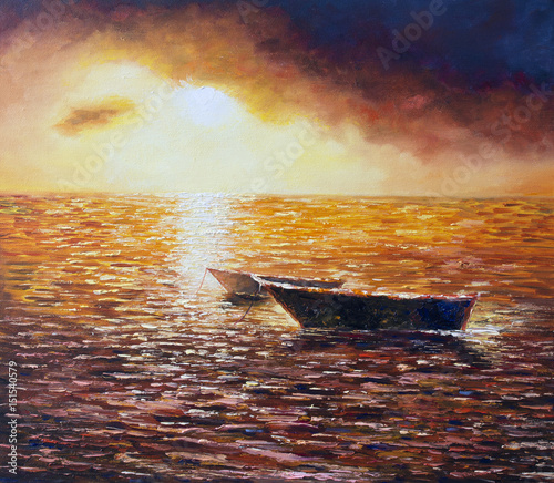 Original oil painting on canvas - Sea Sunset - Modern Art © shvets_tetiana