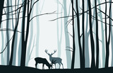 Forest landscape with blue silhouettes of trees and deers - vector illustration