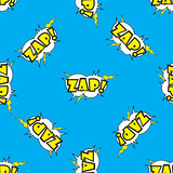 ZAP Comic sound effects in pop art style seamless pattern