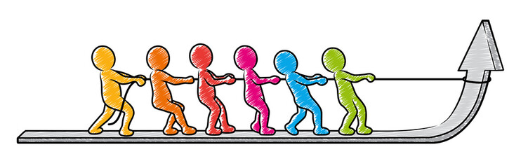 Wachstum in Teamwork: Farbige Strichmännchen ziehen zusammen einen Pfeil hoch / Vektor, freigestellt