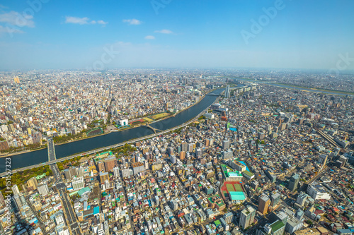 Aerial view of Tokyo city skyline, Sumida River Bridges and Asakusa area from Tokyo Skytree observatory Poster