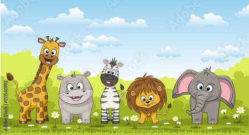 Fototapeta Illustration of different cute wild animals